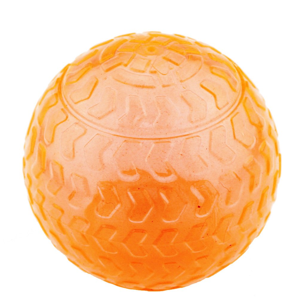 Crystal orange Aduck Pet Puppy Dog Squeaky Ball Toys [Arrow Bouncy Series] [Non-Toxic Soft Natural Rubber], Cute Crystal Ball Design3.15inch (Crystal orange)