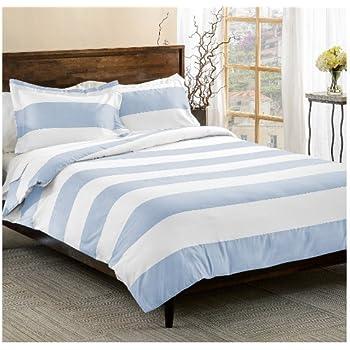 Amazon Com 3 Piece Light Blue White Rugby Stripes Duvet