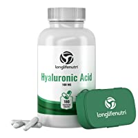 Hyaluronic Acid 100 mg 180 Vegetarian Capsules   Supports Knees & Joints   Skin Complex Tablets   Triple Strength HA Supplement For Face Elasticity   Acido Hialuronico Pills   Oral Powder Vitamin 1000