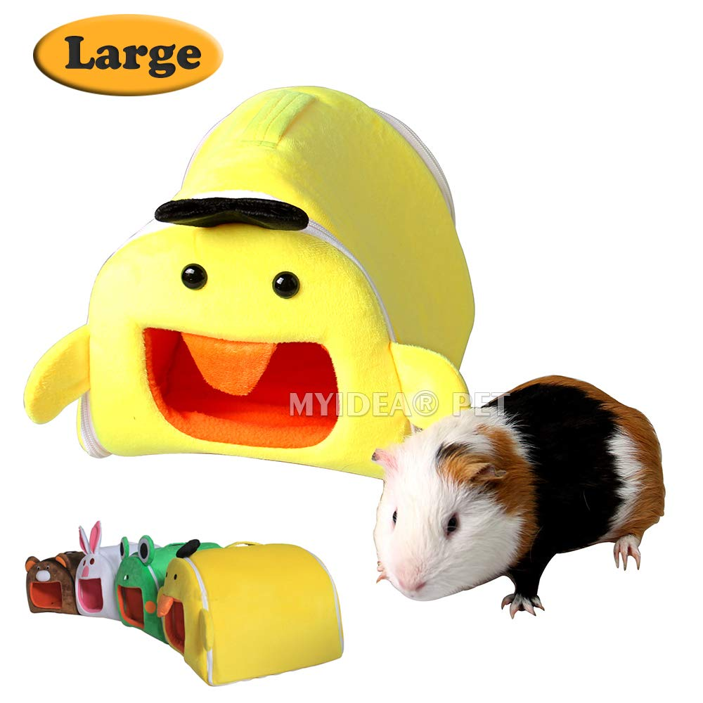 Duck L Duck L MYIDEA Guinea Pig Hamster's Portable Bed Hedgehog Rat   Gerbil Sugar Glider Carrying Cage Zipper Folding Pet Cartoon Bed Hanging Hideout (L, Duck)