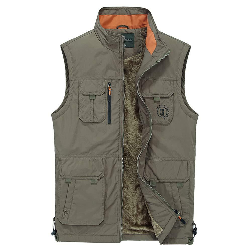 BESHU Warme Weste für Herren, Outdoor Jagd- Angler Weste mit vielen praktischen Taschen