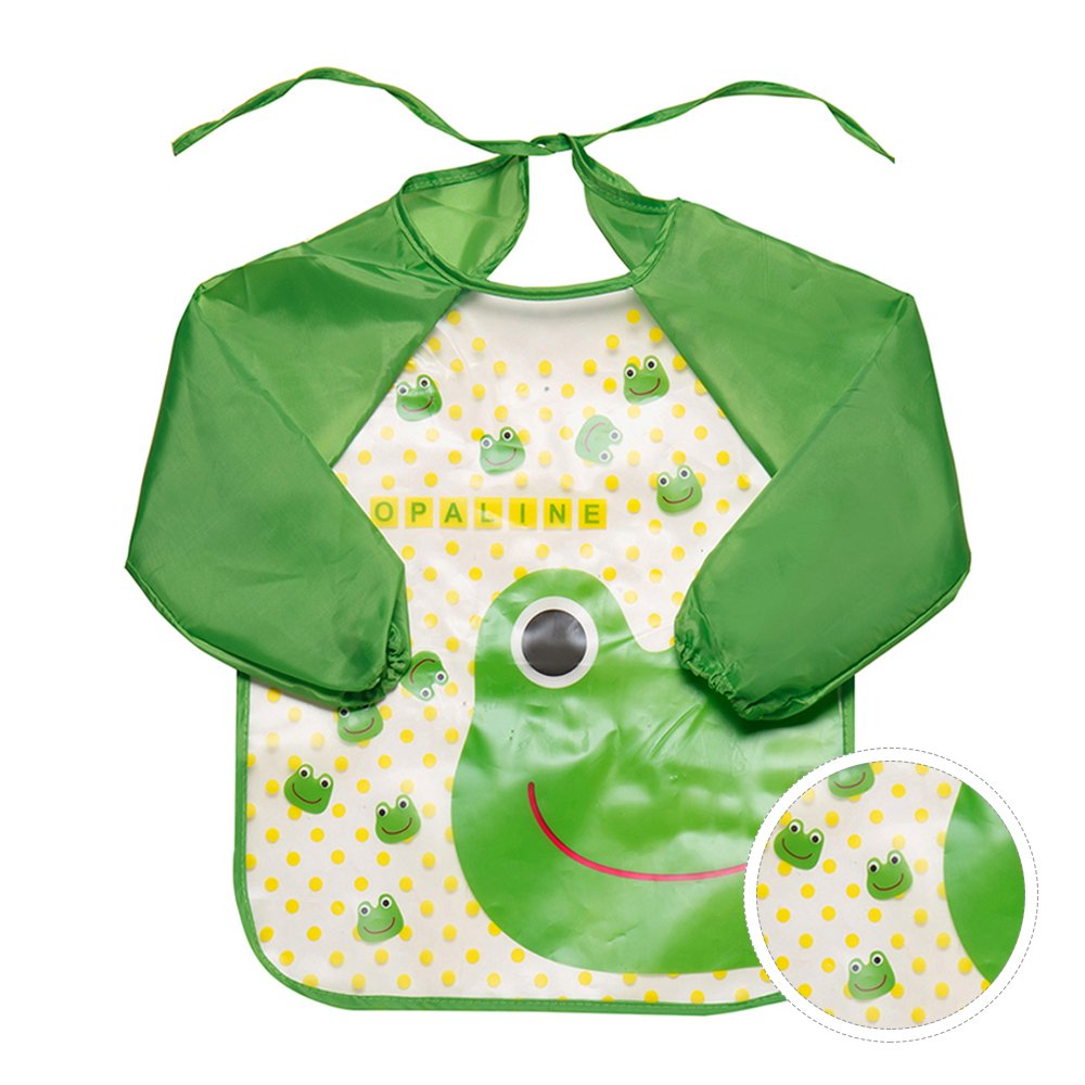 Happyyous Baby Long Sleeved Bib, Unisex Infant Toddler Baby Bib Waterproof For Baby Girls And Boys