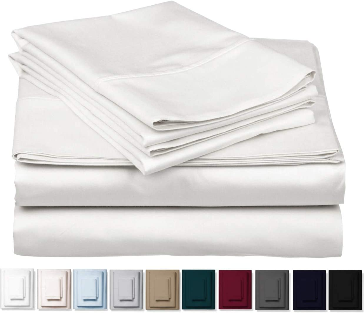1000-Thread-Count 100% Cotton Sheet Pure White Queen-Sheets Set, 4-Pc Long-Staple Combed Cotton Best-Bedding Sheets For Bed, Breathable, Soft & Silky Sateen Weave Fits Mattress Upto 18'' Deep Pocket