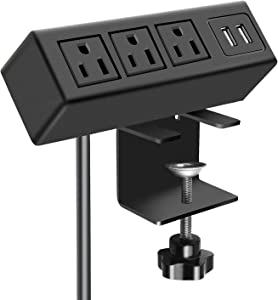 3 Outlet Desk Clamp Power Strip, Desk Mount USB Charging Power Station, Removable Desktop Power Center Plugs Output 125V 60HZ 12A 1500W, USB 5V 2.1A 6.56FT Cable