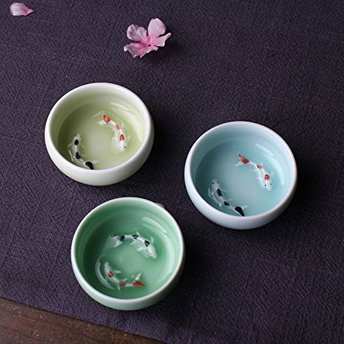 Handmade Celadon Chinese Kung Fu Small Volume Teacups 2oz. Vivied Fish (3 Colors, set of 3)
