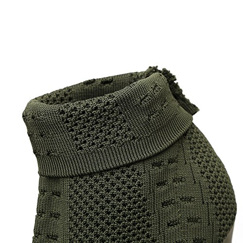 a maglia a alto elegante a lavorare pesce di esposti Donna tacco 39 ZHZNVX bene Verde calze scarpa bocca qwg86fP