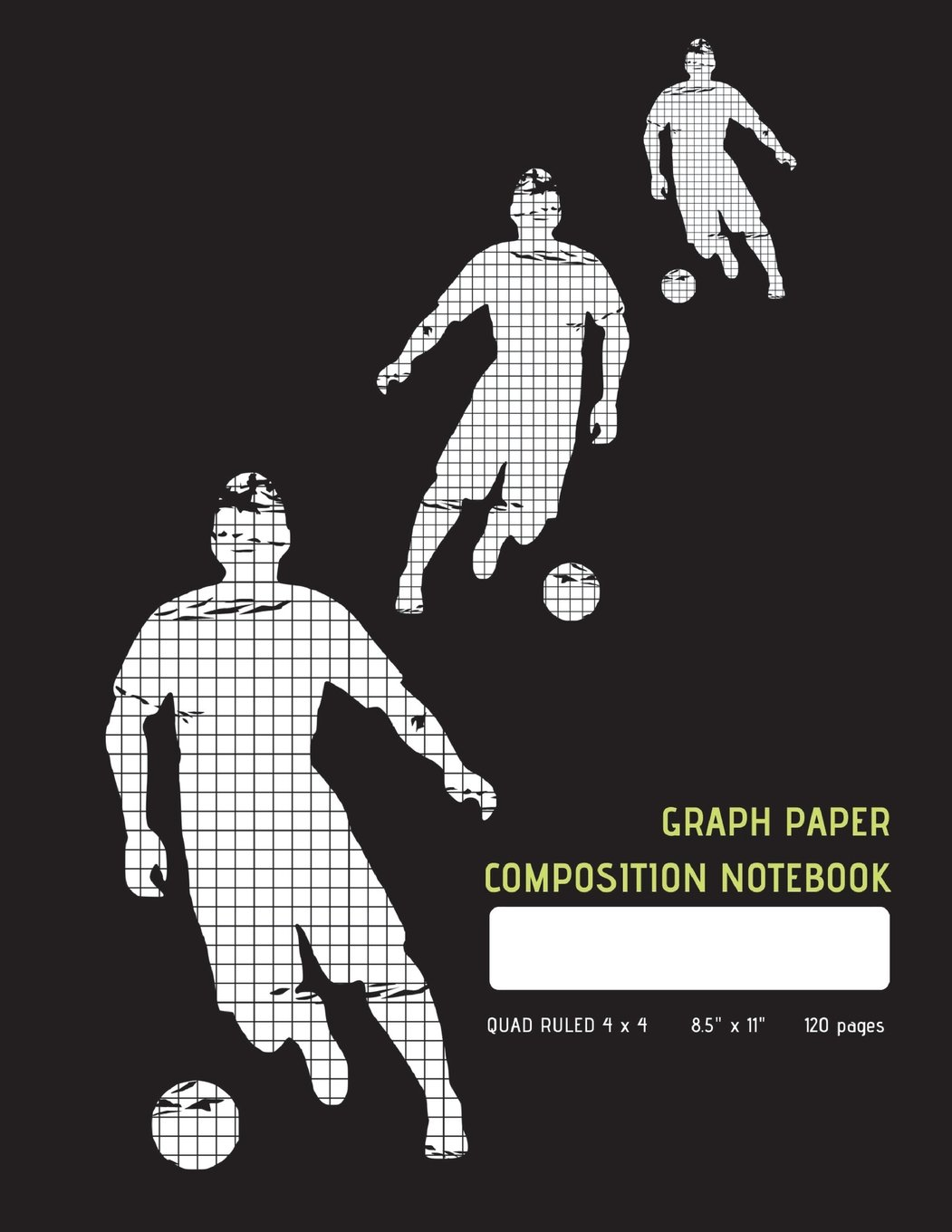 """Download Graph Paper Composition Notebook: Soccer Trio Black Square Grid Journal, Quad Ruled 4 x 4, 120 pages,  Extra Large 8.5"""" x 11"""" ebook"""