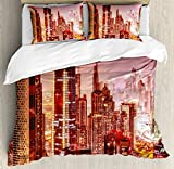 Cityscape Queen Size Duvet Cover Set by Ambesonne, Dubai at Night Cityscape with Tall Skyscrapers Panorama Picture Arabian Peninsula, Decorative 3 Piece Bedding Set with 2 Pillow Shams, Pink Gold