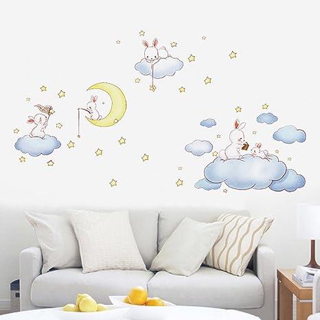 Nubes Blancas De Dibujos Animados Conejo Pegatinas De Pared Para Habitaciones De Niños Dormitorio Bebé Wereldkaart Decoración Para El Hogar Luna Y Las