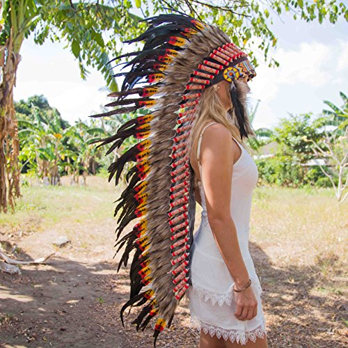 Novum Crafts Feather Headdress | Native American Indian Inspired | Multicolored by Novum Crafts (Image #2)