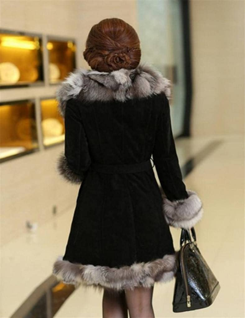 YR Lover Womens Long Natural Fox Fur/&Leather Coat Jacket With Super Fur Collar