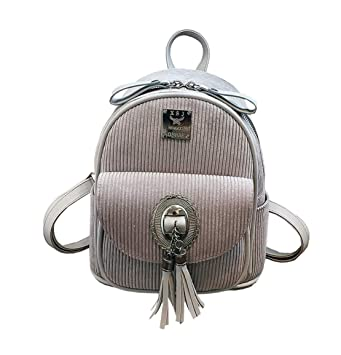 Xiuy Fashion Pana Mochilas Pequeña Mochilas Escolares Color sólido Mochilas Tipo Casual Resistente Flecos Backpack Diario Viajes Bolsas para Mujeres: ...