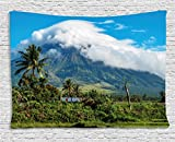 Ambesonne Volcano Tapestry, Mayon Volcano Mountain Peak Surrounded with Clouds Greenery Asian Landmark, Wall Hanging for Bedroom Living Room Dorm, 80 W X 60 L inches, Blue Green White