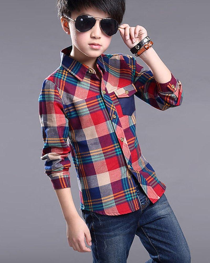 ZHUANNIAN Boys Checks Long Sleeve Shirts
