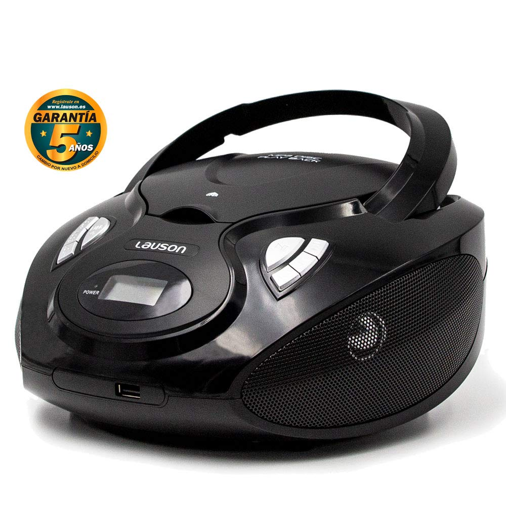 Lauson Radio y Reproductor de CD Portátil con USB | Radio Am/FM | USB y Mp3 | CD Player con Salida para Auriculares 3.5mm | CP635 (Negro)
