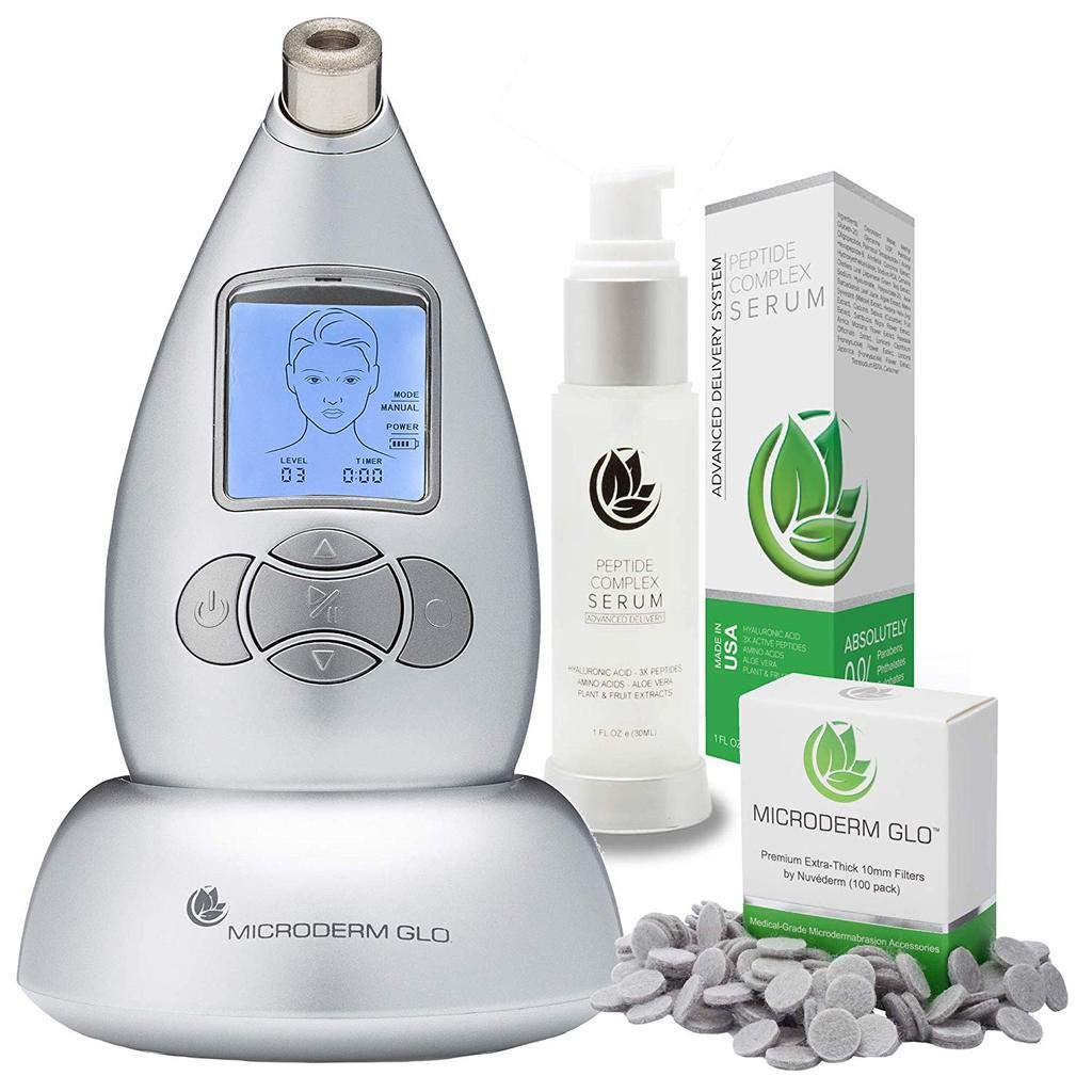 Microderm GLO Premium Skincare Bundle Includes Diamond Microdermabrasion System, 10mm Filters 100 pack, Peptide Complex Serum. Best Anti Aging Treatment Blackhead Remover and Pore Vacuum Kit (Silver) by Microderm GLO