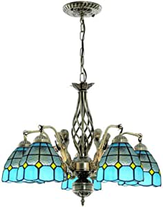 Retro Mediterranean Stained Glass Chandelier for Living Room, Multi-Arm Tiffany Style Vintage Hanging Lamp for Bedroom Dining Room Decoration Pendant Lighting Fixture, 110-240V,5 Head