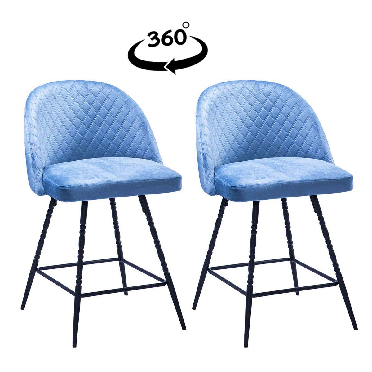 Yongqiang 26 inch Upholstered Swivel Stools Blue Velvet Bar Stools Set of 2 Metal Counter Height Bar Chairs