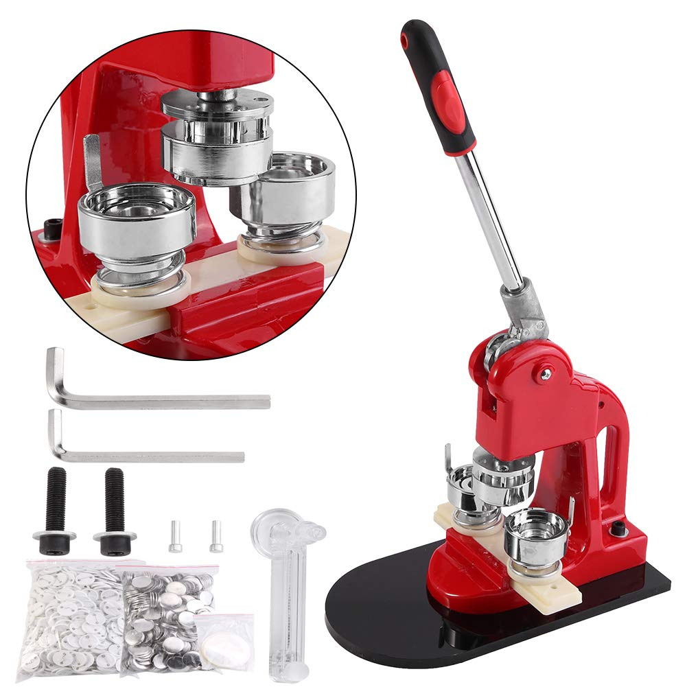 GOTOTOP Button Badge Maker Machine, 32mm Button Badge Maker Punch Press Machine with 1000 Pcs Pin-Back Button Parts and Circle Cutter by GOTOTOP