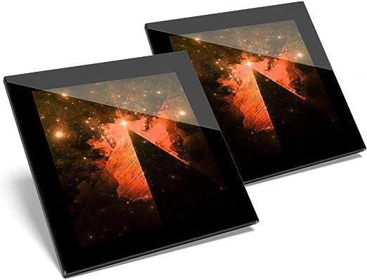 Impresionante juego de 2 posavasos de cristal Illuminati Pyramid Orion brillante calidad posavasos/mantel de protección para cualquier tipo de mesa #3381: Amazon.es: Hogar