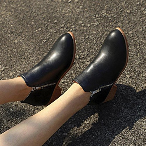 Women Chunky Top 2018 Black Shoes Booties Velvet Leather Ladies Knight Loafers Short Martin Biker Ankle High rqfzxS7r