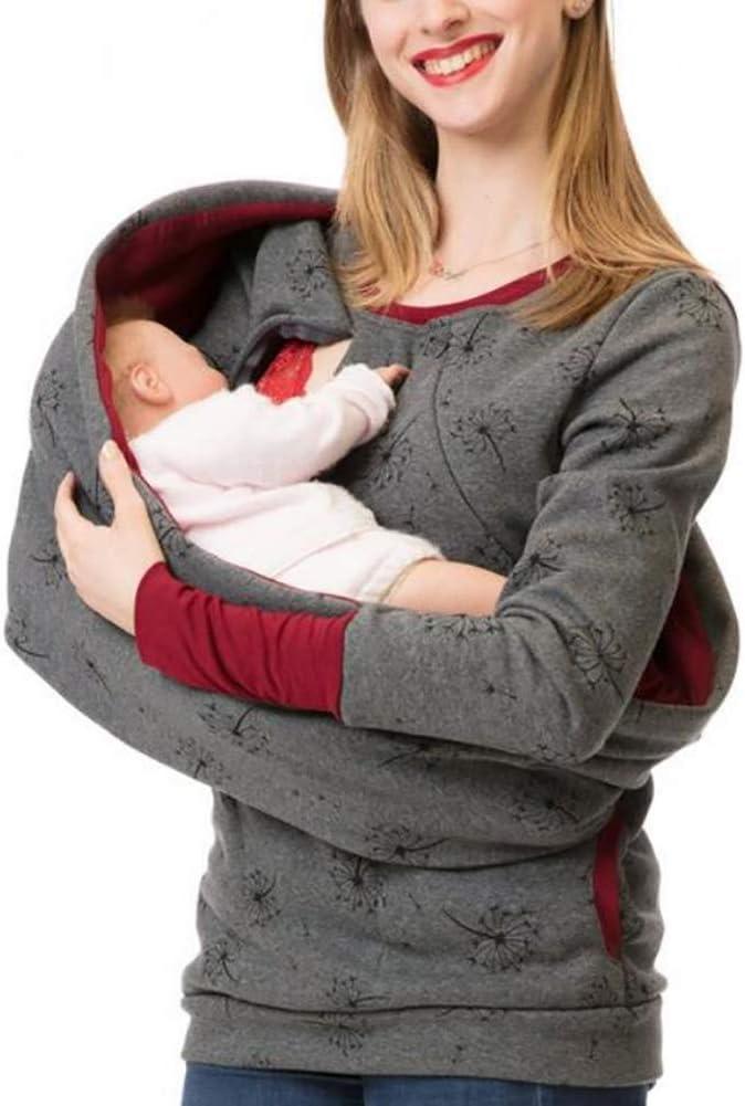 SHANGXIAN Maternidad Lactancia Sudadera Mujer Madre Tops Casuales Manga Larga Amamantamiento Jersey con Capucha