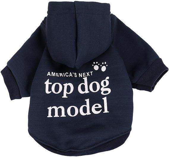 Angelof Vetement ChienChat Sweat A Capuche Chiot Manteau Lettre Sweatshirt Chien Habits Hiver Chaud pour Petite Chiens Veste T Shirt Chihuahua