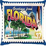 Space No. 1 Florida Palm Beach Aircraft Classic Chair Cushion Cover Invisible Zipper Twin Side Luxury Print Decoration Pillow Cover
