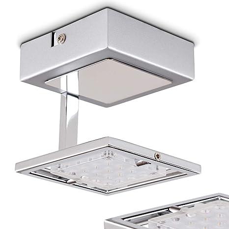 LED Lámpara de techo Guelph metal cromo - Lámpara cuadrada ...