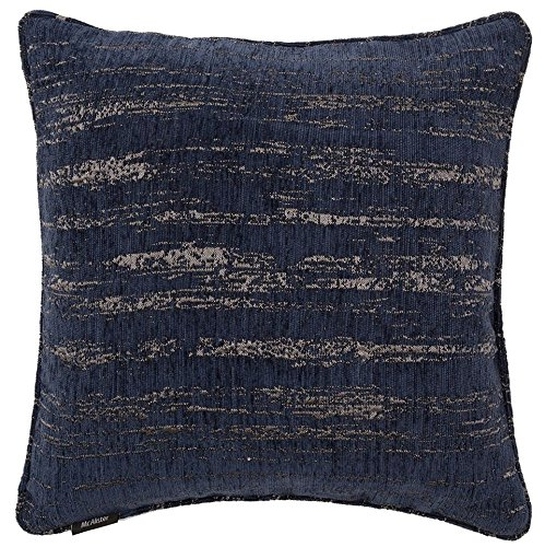 McAlister Textured Chenille Large Decorative Pillow Cover | 20x20 Royal Navy Blue with Silver Metallic Effect | Retro Rustic Accent Décor