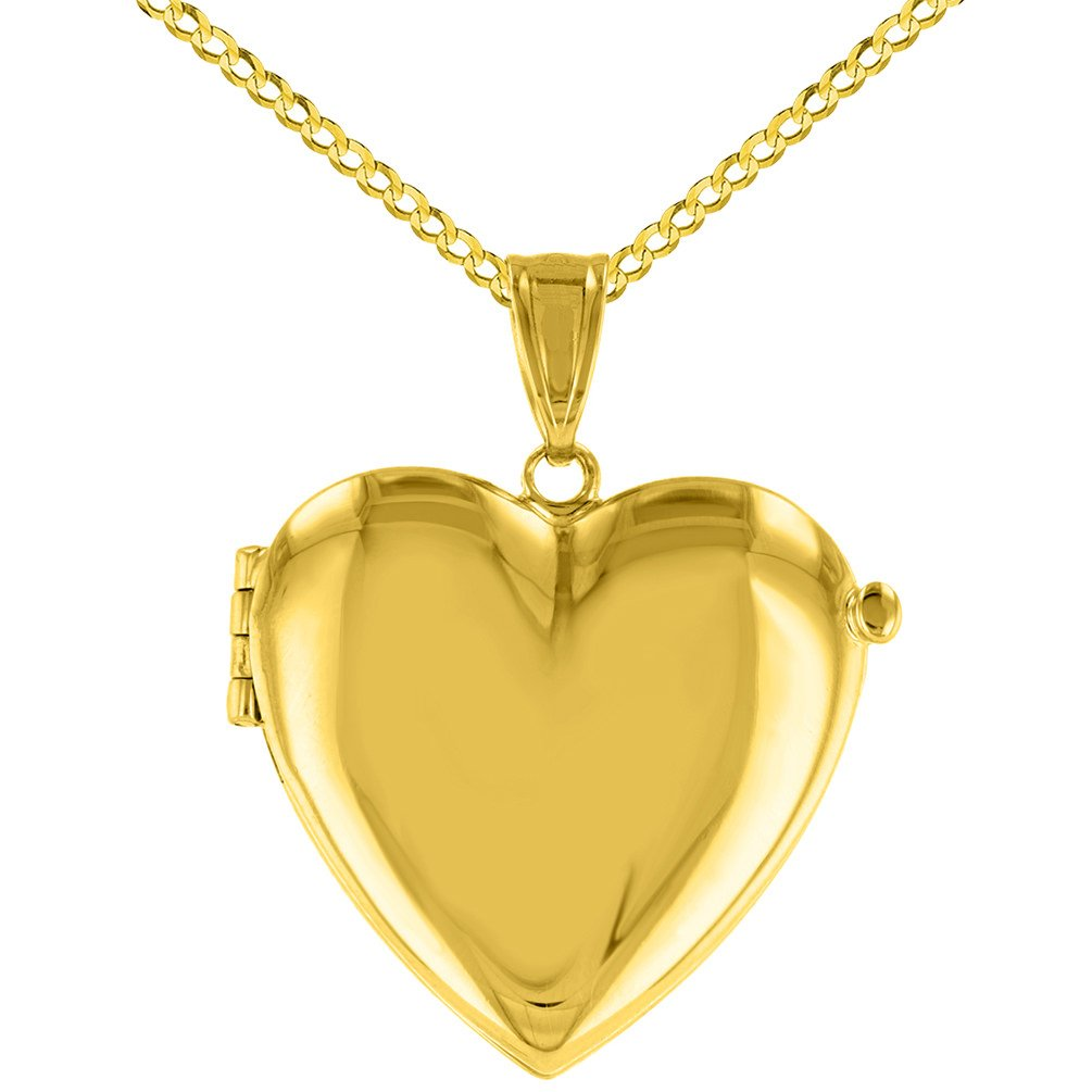 Solid 14K Yellow Gold Heart Shaped Locket Charm Pendant Necklace, 22''