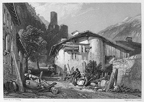 Switzerland Martigny Nthe Town Of Martigny In Southwestern Switzerland Steel Engraving English 1833 Poster Print by (18 x 24)