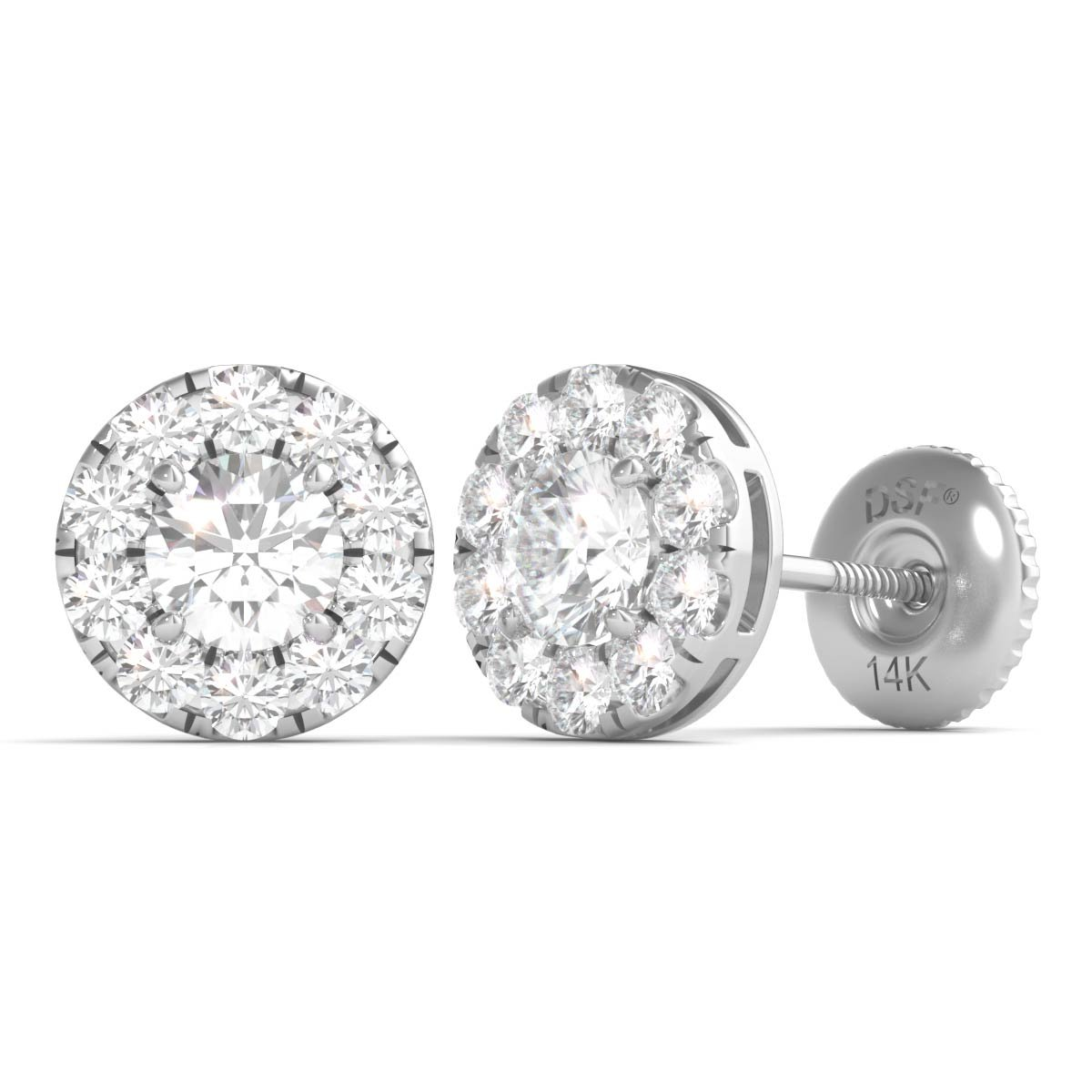 Diamond Studs Forever 14K White Gold Diamond Halo Earrings (3/4 Ct tw IGI USA Cert GH/I1)