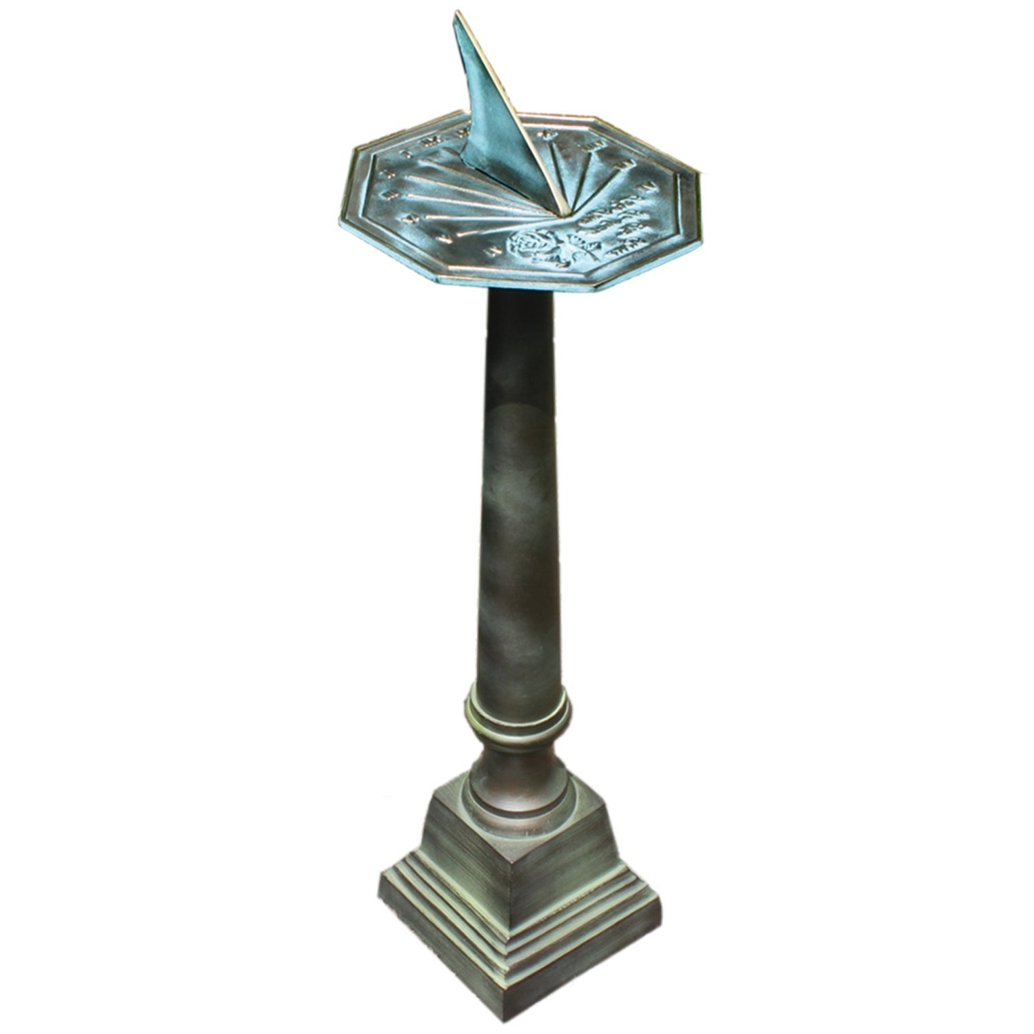 Rome B28 Aluminum Column Sundial Pedestal, Cast Aluminum with Copper and Light Verdigris Patina Finish, 25-Inch Height