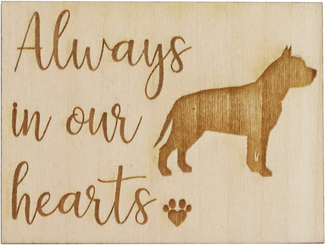 "Always in Our Hearts with Pit Bull Dog - Memorial Refrigerator Magnet, Engraved Wood 2"" x 1.5"" Keepsake Gift"