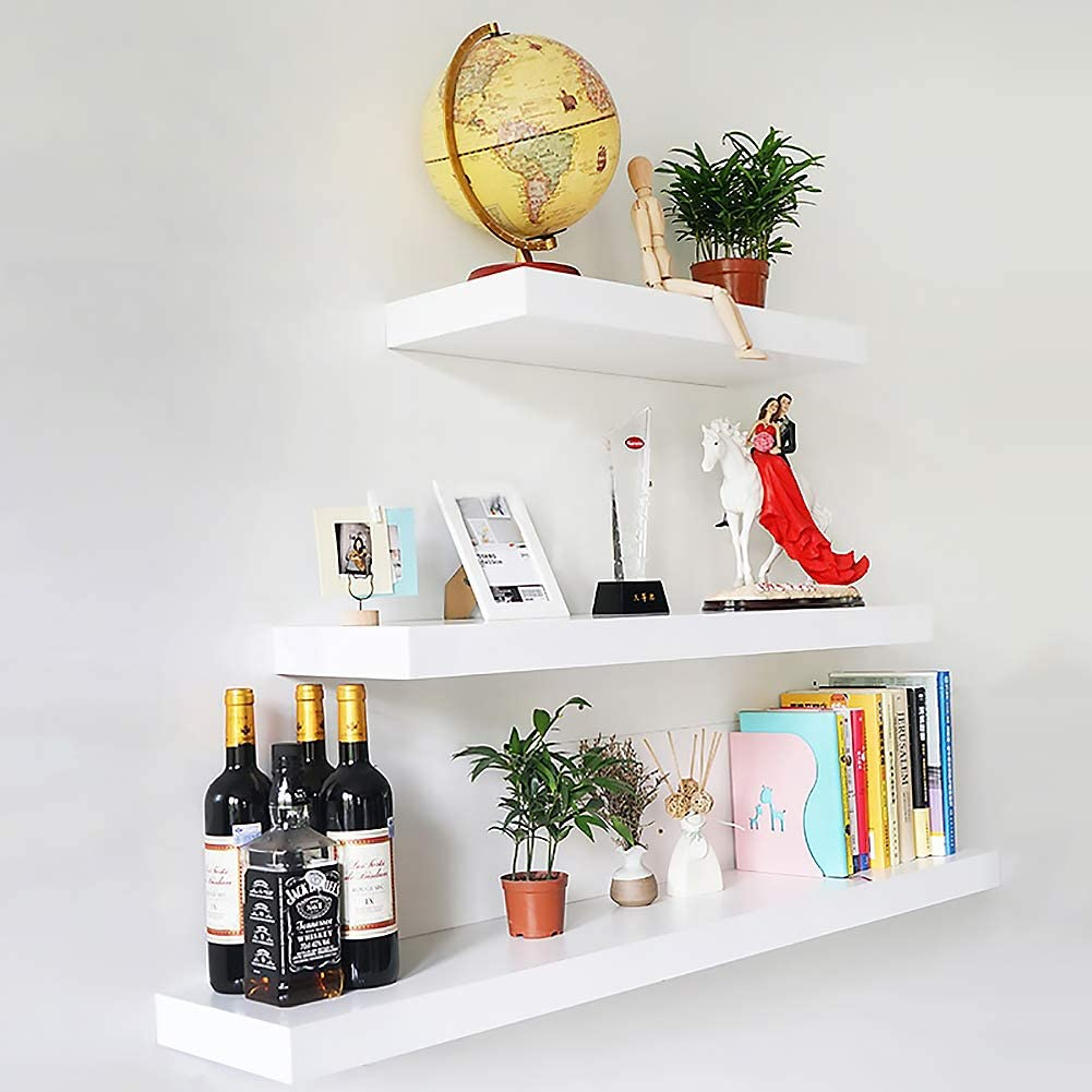 Set of 3 Floating Wall Shelves White,Wooden Wall Mount Display Shelf,Decorative Wooden Shelves for Wall