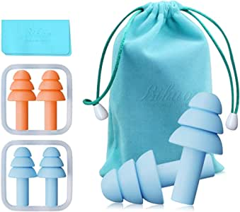 Bihuo Silicone Ear Plugs, 2 Pairs Reusable Earplugs Individually Wrapped with Carry Bag NRR 32 Noise Cancelling Plug for Sleeping, Snoring, Swimming, Airplane and Hearing Protection (Orange/Blue)