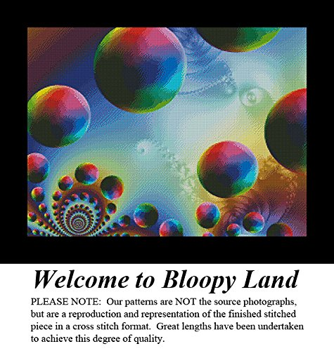 Welcome to Bloopy Land, Artful Designs and Fractals Cross Stitch Pattern (Pattern Only, You Provide the Floss and Fabric)