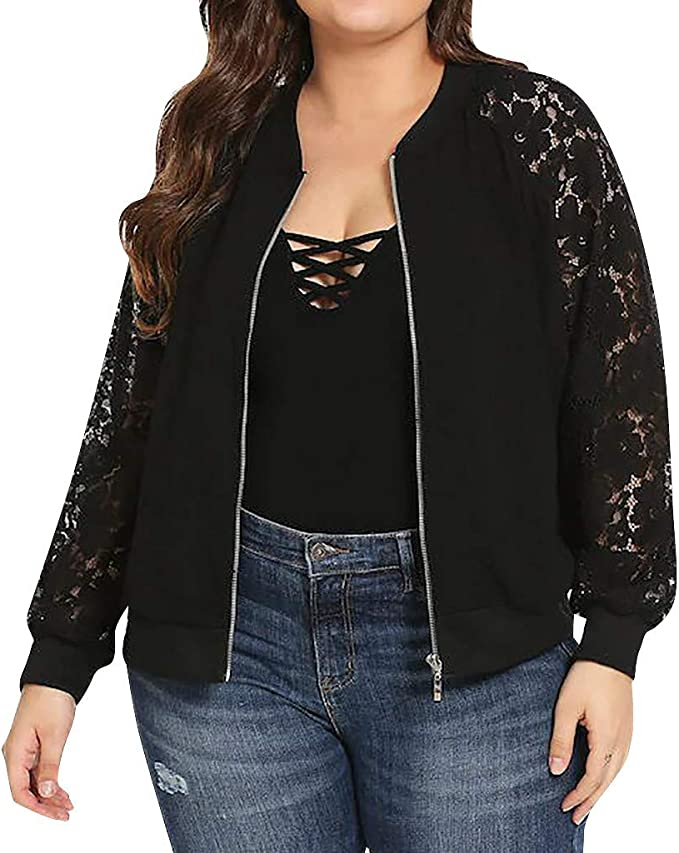 MAKEMECHIC Womens Plus Casual Floral Lace Long Sleeve Zipper Bomber Jacket Outwear