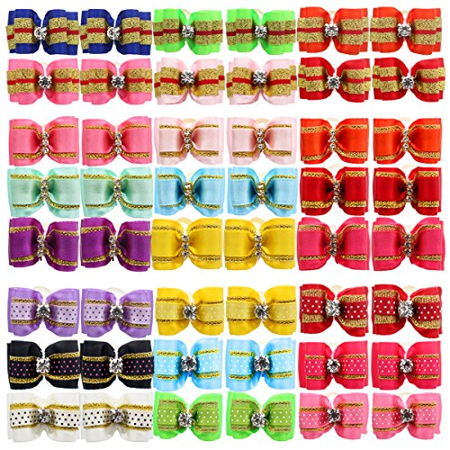 YOY 48PCS/24 Pairs Adorable Grosgrain Ribbon Pet Dog Hair Bows with Rubber Bands - Puppy Topknot Cat Kitty Doggy Grooming Hair Accessories Bow knots Headdress Flowers Set for Groomer by YOY