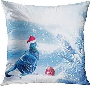 Fcdraon Throw Pillow Decor Square20 x 20 Inch Magic Winter Christmas Fabulous Image Dove Santa Claus Super Soft Decorative Cushion Cover Printed Pillowcase Cover Home Sofa Living Room