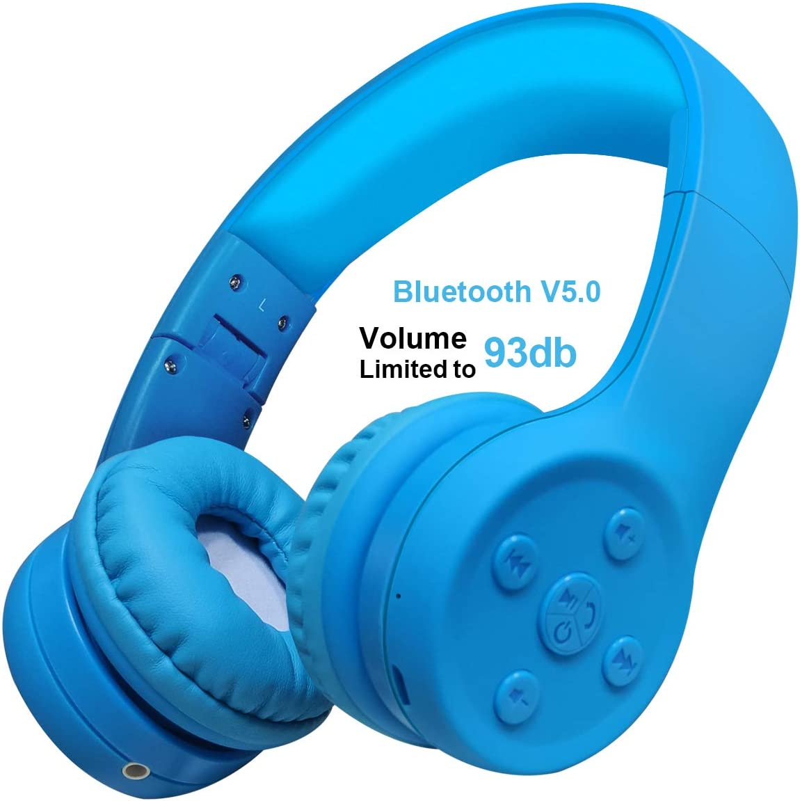 Yusonic Kids Bluetooth Headphones, Bluetooth V5.0 Foldable Volume Limited Kids Wireless Headphones with Built-in Microphone for Cell Phones TV Toddler Tablet Game School Boys Girls Blue 2