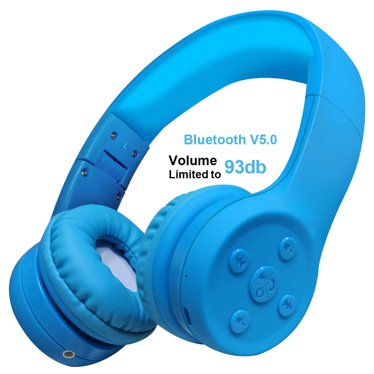 Yusonic Kids Bluetooth Headphones, Bluetooth V5.0 Foldable Volume Limited Kids Wireless Headphones with Built-in Microphone for Cell Phones TV Toddler Tablet Game School Boys Girls (Blue 2