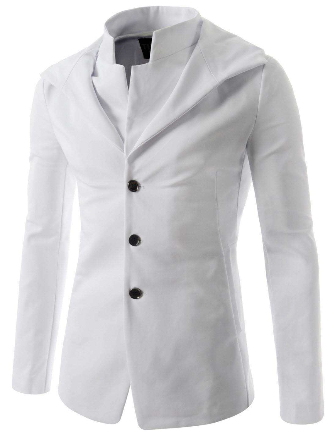 (NJK151) Mens Slim Fit Hooded Blazer Stylish Double Collar Sports Coat Jacket WHITE US XS(Tag size L)