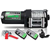 STEGODON 2500 lb. Load Capacity Electric Winch,12V Steel Cable Winch with Wired Handle and Wireless Handheld Remotes,Waterpro