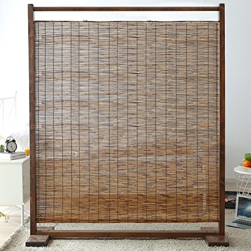 Freestanding rustic style wood reed single panel room