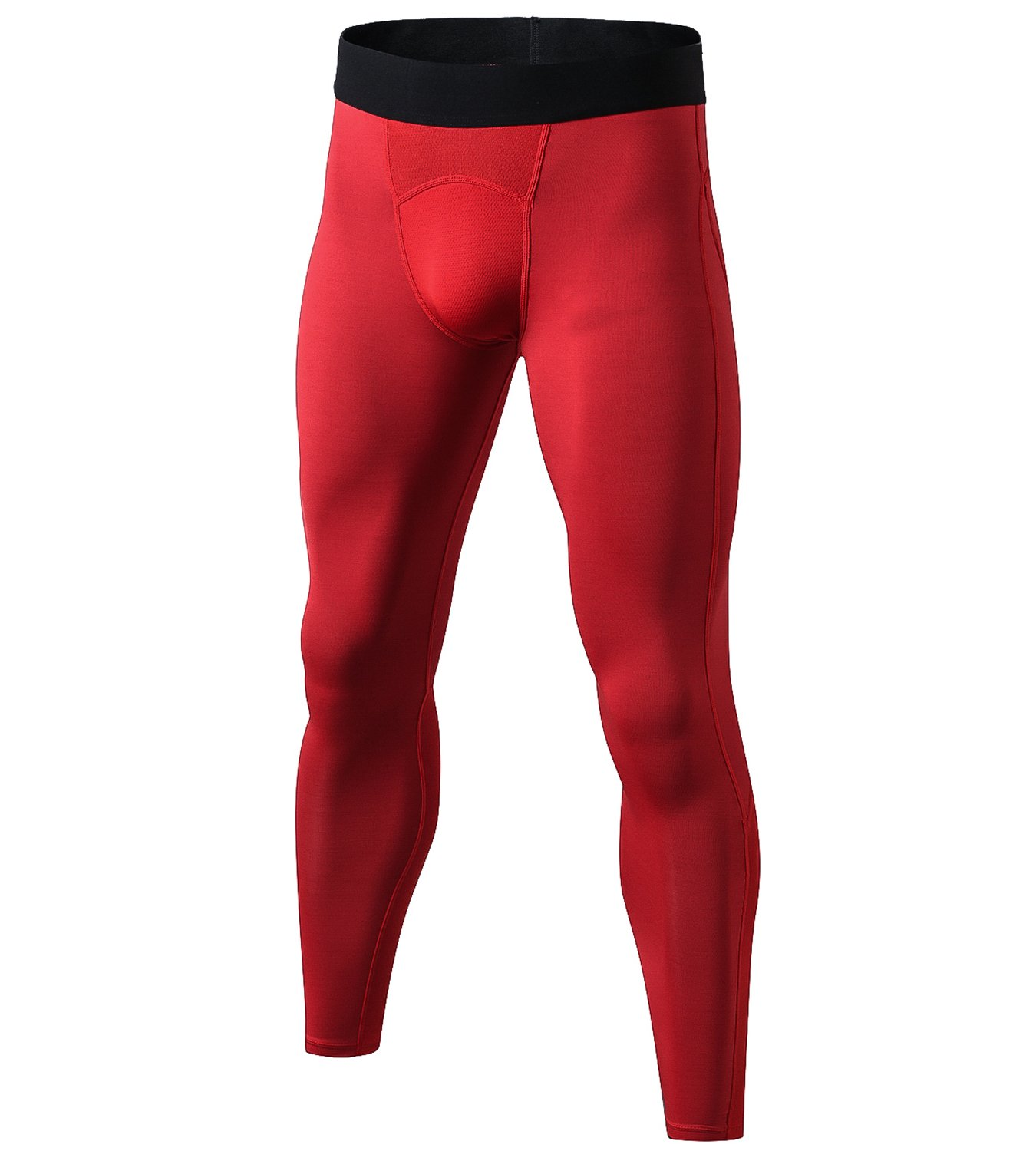 Lavento Men's Compression Pants Mesh Cool Dry Workout Tights (1 Pack-1040 Red, Small)