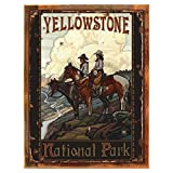 Wood-Framed Yellowstone Riders Metal Sign: Sportsman Decor Wall Accent for kitchen on reclaimed, rustic wood For Sale