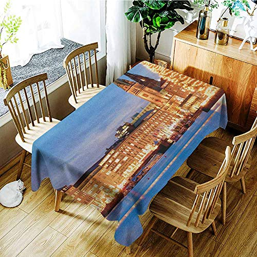 XXANS Large Rectangular Tablecloth,Winter,Hamburg Germany Old Town Hall with Christmas Tree Historical Architecture,Party Decorations Table Cover Cloth,W60X90L Blue Orange Brown