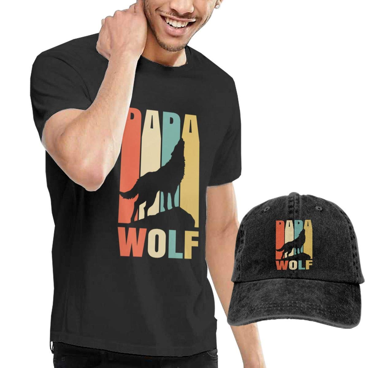 Papa Wolf Tees Short Sleeve Denim Hat Male